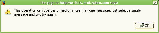 Funny error message from Yahoo! Mail